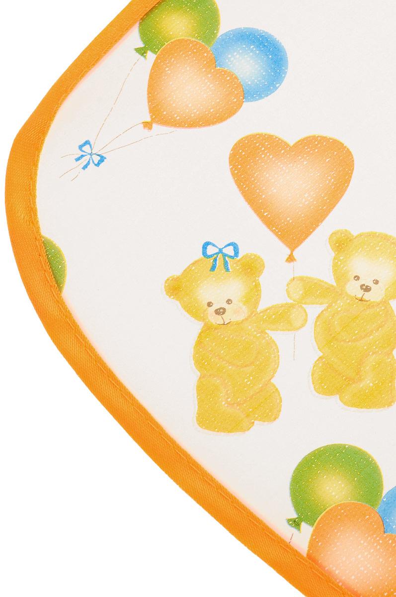 Колорит Нагрудник Мишки с шариками цвет белый оранжевый 20 х 22 см