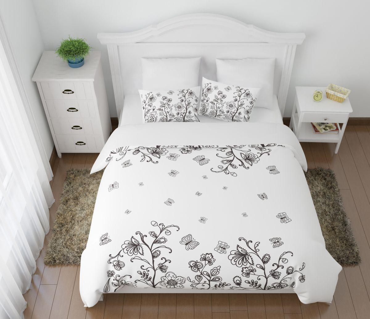 Комплект белья Сирень Танго цветов и бабочек, 1,5-спальный, наволочки 50x7004523-КПБ-МКомплект постельного белья Сирень состоит из простыни, пододеяльника и 2 наволочек. Комплект выполнен из современных гипоаллергенных материалов. Приятный при прикосновении сатин - гарантия здорового, спокойного сна. Ткань хорошо впитывает влагу, надолго сохраняет яркость красок. Четкий, изящный рисунок в сочетании с насыщенными красками делает комплект постельного белья неповторимой изюминкой любого интерьера. Постельное белье идеально подойдет для подарка.