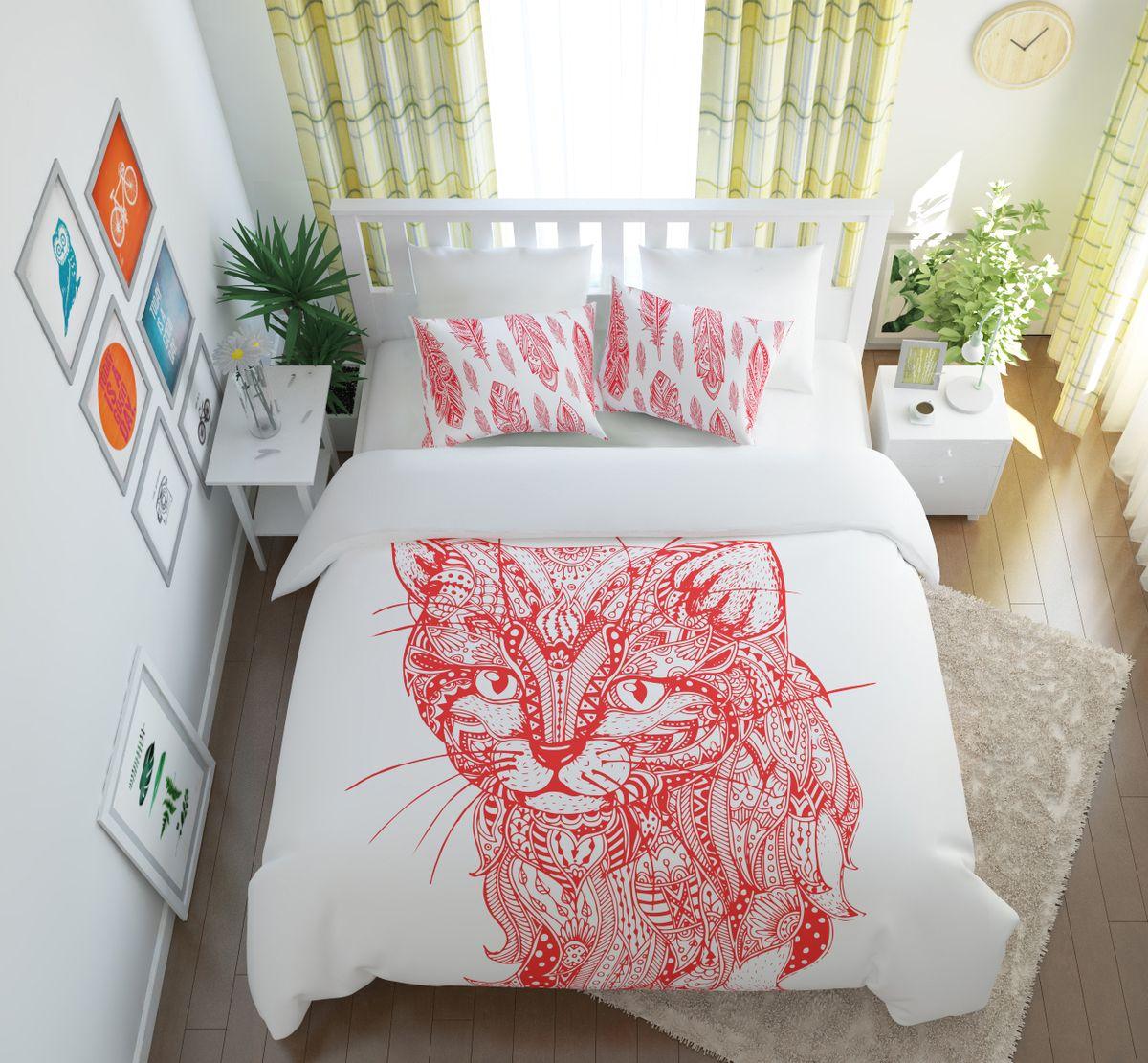 Комплект белья Сирень Волшебный кот, 1,5-спальный, наволочки 50x70 комплект белья сирень волшебный кот 1 5 спальный наволочки 50x70