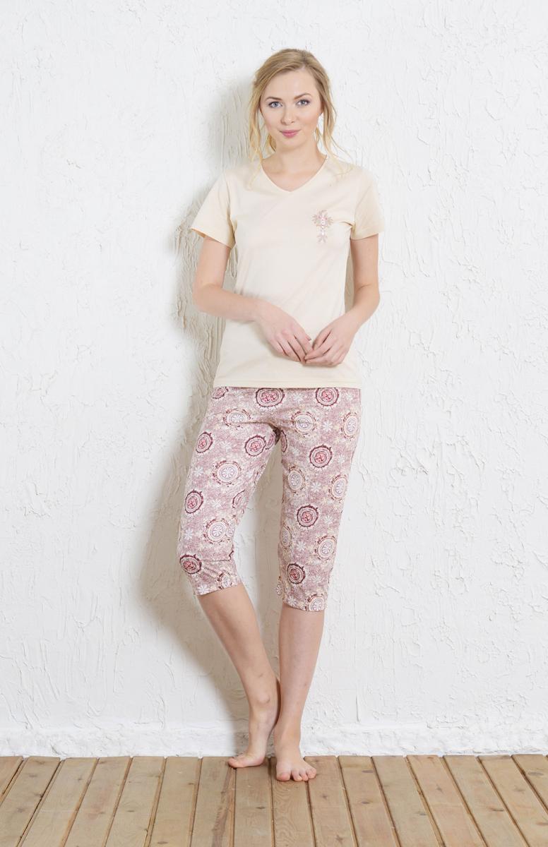 Комплект домашний женский Vienetta's Secret: футболка, капри, цвет: молочный, светло-розовый. 511075 5218. Размер L (48)