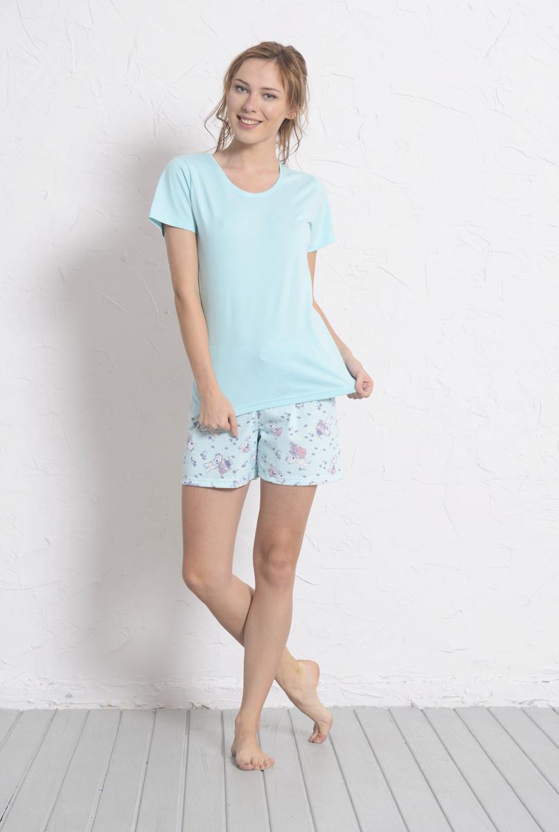 Комплект домашний женский Vienetta's Secret: футболка, шорты, цвет: голубой. 608010 0323. Размер L (48)