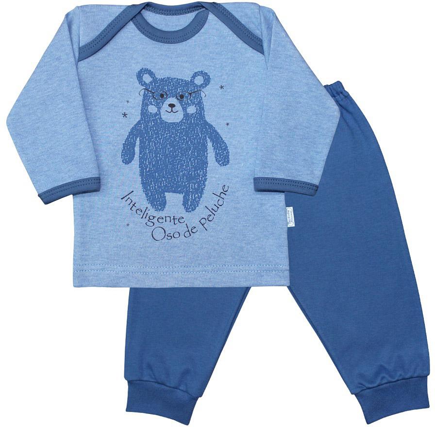 Пижама для мальчика Веселый малыш Умный мишка, цвет: синий. 623332/уми-F (1). Размер 86623332_умный мишкаПижама для мальчика Веселый малыш выполнена из качественного материала и состоит из лонгслива и брюк. Лонгслив с длинными рукавами и круглым вырезом горловины. Брюки понизу дополнены манжета