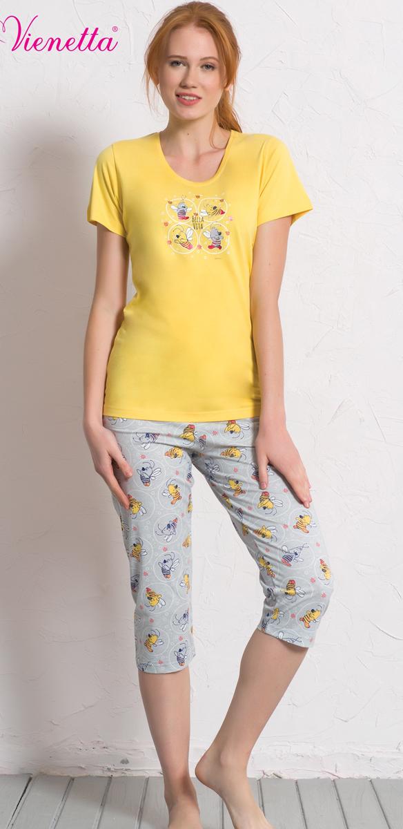 Комплект домашний женский Vienetta's Secret: футболка, капри, цвет: желтый, серый. 608034 0317. Размер XL (50) комплект домашний женский vienetta s secret футболка капри цвет синий 408052 4668 размер xl 50