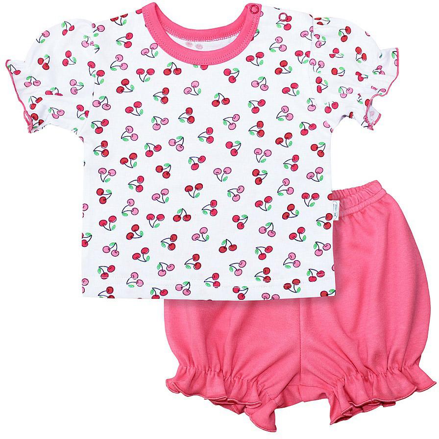 Комплект для девочки Веселый малыш One: футболка, шорты, цвет: розовый. 219172/one-Вишенки. Размер 80219172_вишенкиКомплект для девочки Веселый малыш One выполнен из качественного материала и состоит из футболки и шорт. Футболка с короткими рукавами и круглым вырезом горловины. Шорты дополнены оборками.