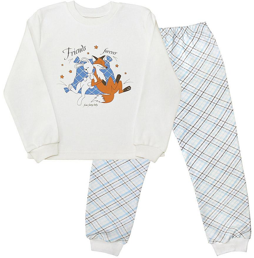 Пижама для мальчика Веселый малыш Друзья, цвет: голубой. 230320-J (1). Размер 110230320Пижама для мальчика Веселый малыш выполнена из качественного материала и состоит из лонгслива и брюк. Лонгслив с длинными рукавами и круглым вырезом горловины. Брюки понизу дополнены манжетами.