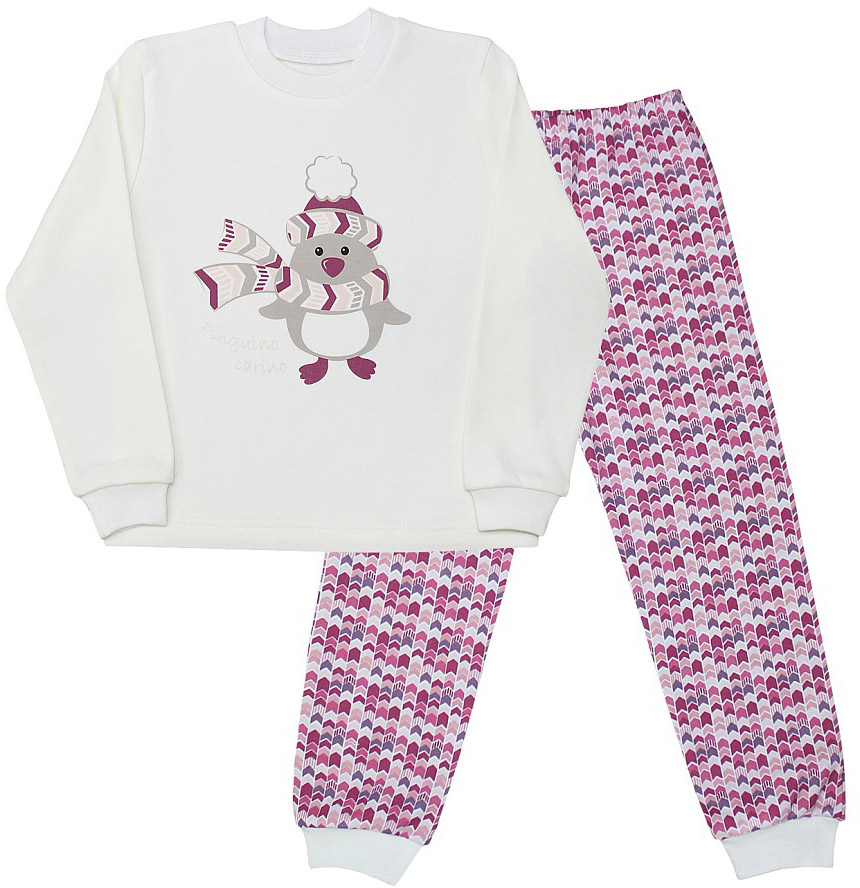 Пижама для девочки Веселый малыш Милый Пин, цвет: розовый. 231130-J (1). Размер 110231130_розовыйПижама для девочки Веселый малыш выполнена из качественного материала и состоит из лонгслива и брюк. Лонгслив с длинными рукавами и круглым вырезом горловины. Брюки понизу дополнены манжетами.