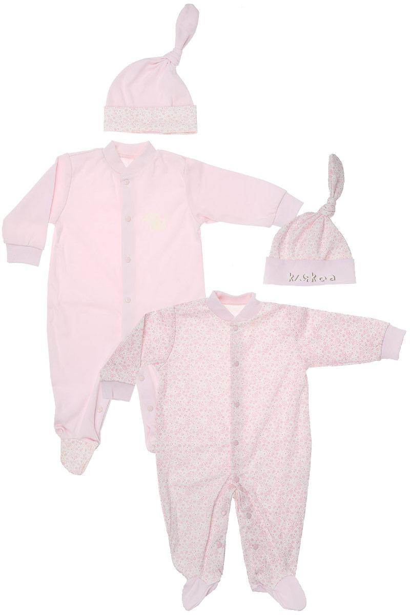 Комплект для девочки Клякса: комбинезон, шапочка, цвет: розовый, 2 шт. 33к-5261. Размер 6833к-5261Детский комплект Клякса состоит из двух комбинезонов и двух шапочек. Комплект выполнен из натурального хлопка. Комбинезон с длинными рукавами застегивается спереди и на ножках на кнопки. Шапочки выполнены в тон комбинезонам.