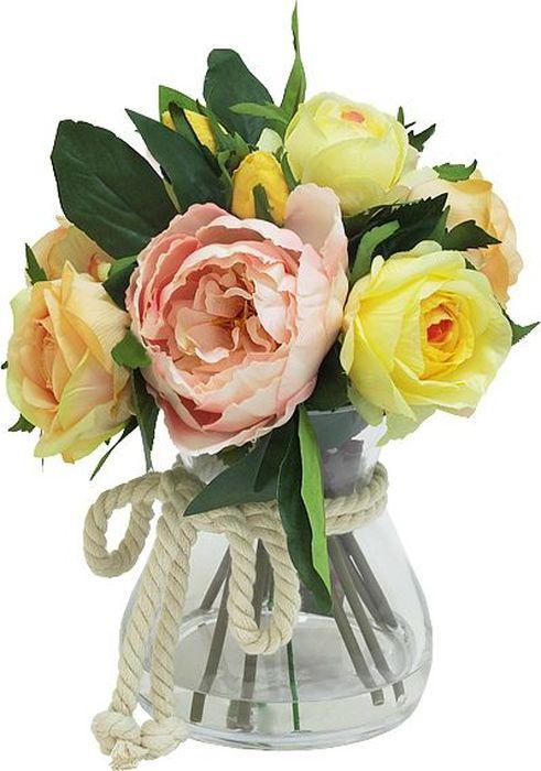 Цветы декоративные Dream Garden Розы желтые и розовые, в стеклянной вазе купить вазы пластик для искусственных цветов