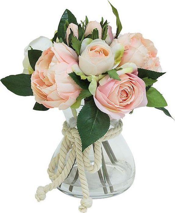 Цветы декоративные Dream Garden Розы розовые, в стеклянной вазе цветы narilatha