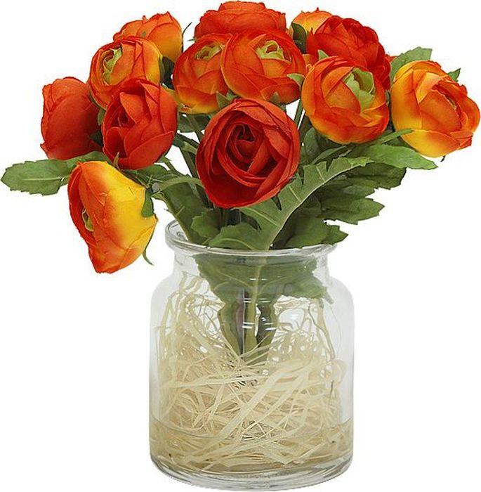 """Цветы декоративные Dream Garden """"Купальницы оранжевые"""" выполнены из искусственного шелка и текстиля. Искусственные цветы максимально приближены к натуральным, не пахнут, что исключает все аллергические реакции. Цветы подойдут для декоративного оформления интерьеров и создают цветочное настроение. Цветы установлены в оригинальную вазу из стекла. Декоративные цветы - это прекрасный подарок в любой дом!"""