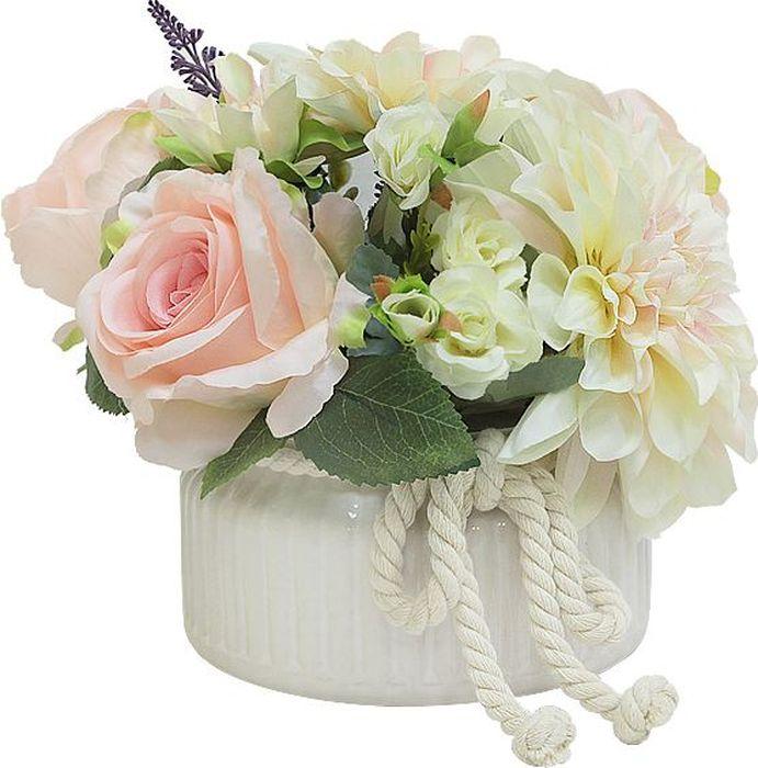 """Цветы декоративные Dream Garden """" Розы светло-розовые и георгины"""" выполнены из искусственного шелка и текстиля. Искусственные цветы максимально приближены к натуральным, не пахнут, что исключает все аллергические реакции. Цветы подойдут для декоративного оформления интерьеров и создают цветочное настроение. Цветы установлены в оригинальную вазу из керамики. Декоративные цветы - это прекрасный подарок в любой дом!"""