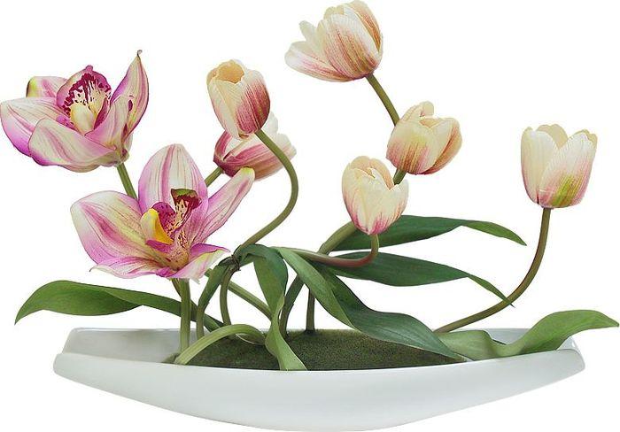Цветы декоративные Dream Garden Тюльпаны светлые с орхидеями, на подставкеDG-JA6069Композиции из искусственных цветов растений в оригинальных вазах и вазонах из керамики, стекла, металла - для декоративного оформления интерьеров квартир, домов, офисов, ресторанов, кафе, банкетных залов, номеров и холлов отелей, салонов красоты, фитнес-клубов…. Композиции не уступают красоте живых цветов, подчеркивают индивидуальность и создают цветочное настроение! Композиции из искусственных цветов долговечны, не требуют ежедневного ухода, выполнены из натуральных шелка и текстиля, прошедших специальную обработку высококачественными современными материалами. Искусственные цветы максимально приближены к натуральным, не пахнут, что исключает все аллергические реакции. Композиции из искусственных цветов – это прекрасный подарок в любой дом!