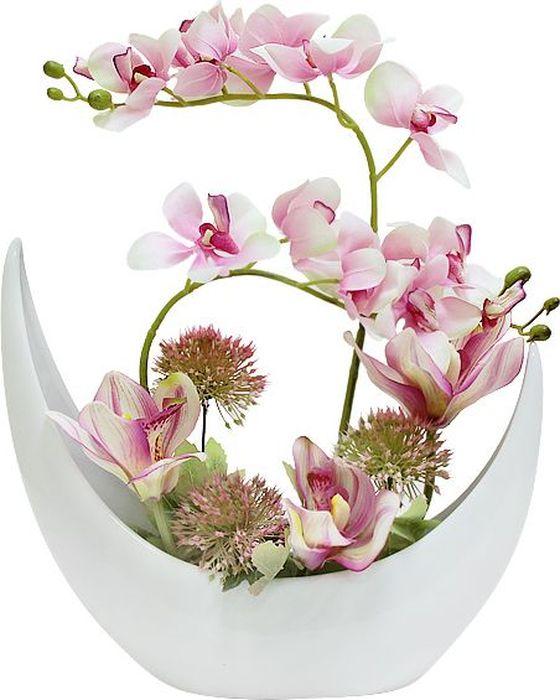 Цветы декоративные Dream Garden Орхидея розовая, в керамической вазе цветы narilatha