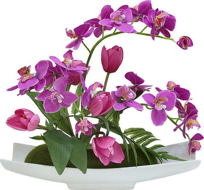 """Цветы декоративные Dream Garden """"Орхидея сиреневая c тюльпанами"""", на подставке"""