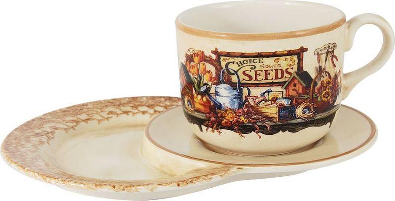 Чайная пара LCS Садовые цветы. LCS933TP/N-SE-ALLCS933TP/N-SE-ALЧайная пара LCS Садовые цветы выполнена из высококачественной глазурованной керамики. В комплект входит чашка и удобное блюдце, на которое можно и чашку поставить, и положить конфеты или пирожные. Коллекция Садовые цветы отличается ярким дизайном, изделия пестрят оранжевыми тюльпанами и цветущими подсолнухами, а потертость бежевого фона, кроме ярких цветов, гармонично дополняют разнообразные садово-дачные принадлежности. Такая чайная пара станет хорошим подарком родным и близким к любому случаю.