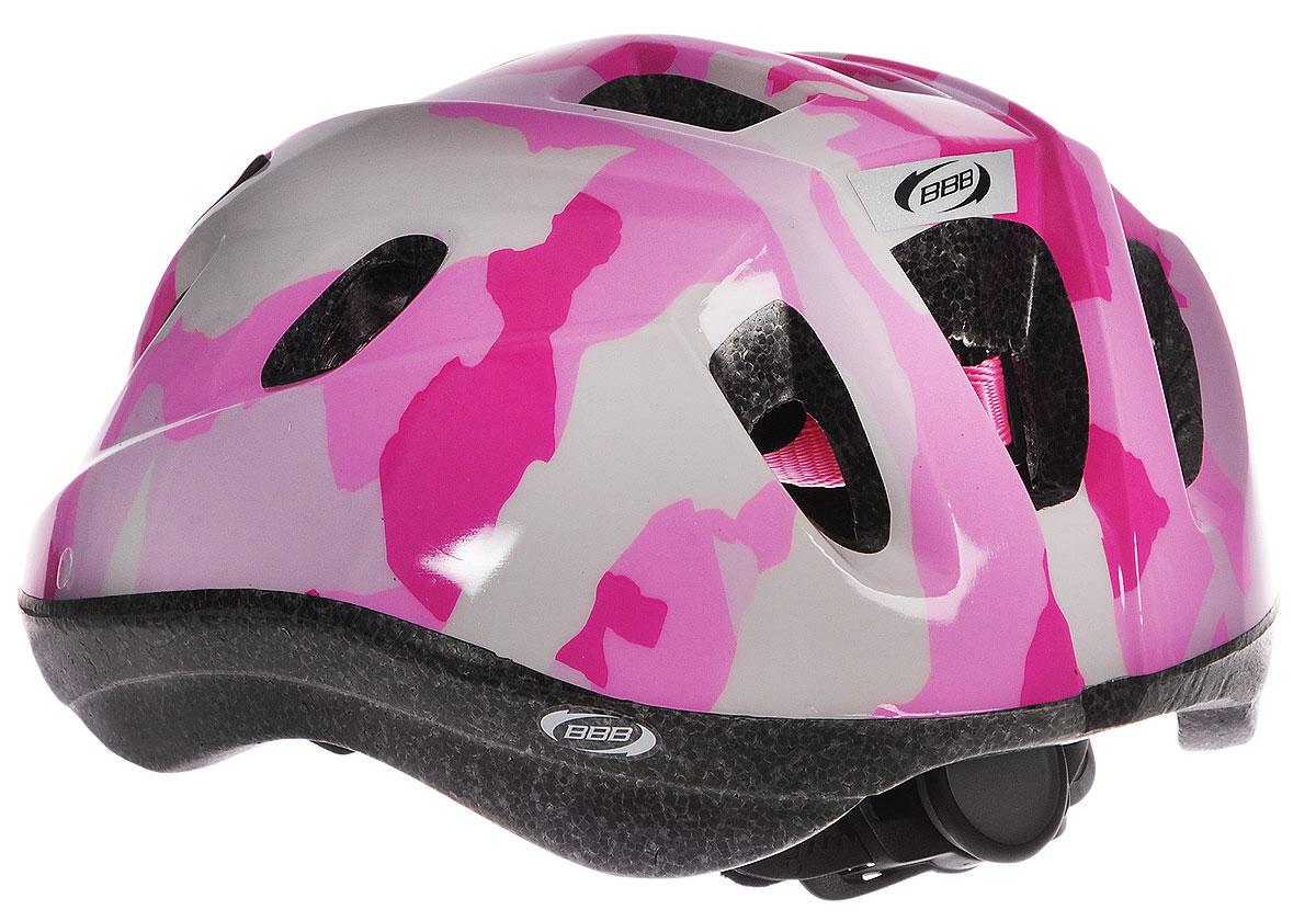 """Детский шлем BBB """"Boogy. Камуфляж"""" предназначен для   велосипедистов, скейтбордистов и роллеров.  Изделие снабжено настраиваемыми ремешками для   максимально комфортной посадки. Система TwistClose -   позволяет настроить шлем одной рукой. Увеличенное   количество вентиляционных отверстий гарантирует   отличную циркуляцию воздуха на разных скоростях движения   при сохранении жесткости.  Шлем оснащен съемными мягкими накладками с   антибактериальными свойствами.  Внутренняя часть изделия изготовлена из пенополистирола.   Ее роль заключается в рассеивании энергии при ударе, что   защищает голову. Верхняя часть шлема, выполненная из   прочного пластика, препятствует разрушению изделия,   защищает шлем от прокола и позволять ему скользить при   ударах. Способность шлема скользить по поверхности является   важной его характеристикой, так как при падении движение   уменьшается не сразу, а постепенно, снижая тем самым   нагрузку на голову и шею.  Надежный шлем с ярким дизайном имеет светоотражающие   наклейки на задней части изделия.   Такой шлем обеспечит высокую степень защиты вашего   ребенка. А 12 вентиляционных отверстий сделают   катание максимально комфортным.  Размер: M. Обхват головы ребенка 52-56 см.      Гид по велоаксессуарам. Статья OZON Гид"""