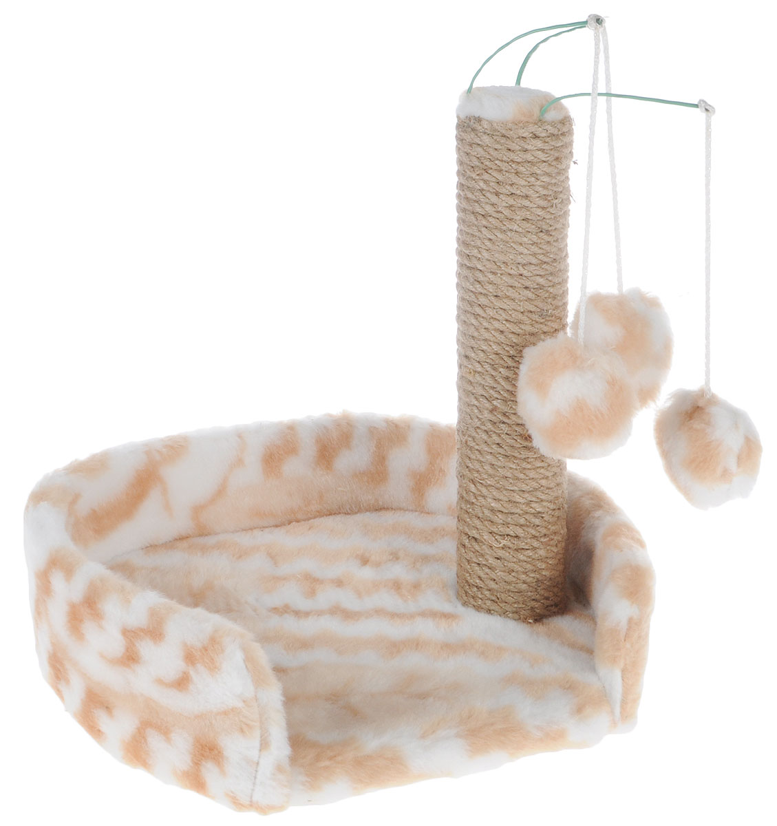Когтеточка для котят Меридиан, с лежанкой, цвет: белый, бежевый, 34 х 26 х 34 см