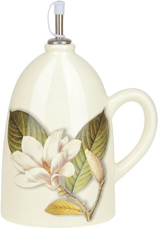 Бутылка под масло Танго Магнолия, 1,1 л9121Бутылка под оливковое масло Танго Магнолия изготовлена из доломита. Изделие оформлено нежным изображением цветка. Бутылка предназначена для хранения подсолнечного или оливкового масла и уксуса. С помощью специального дозатора вы сможете легко добавить нужное количество жидкости.Оригинальная емкость будет отлично смотреться на вашей кухне.