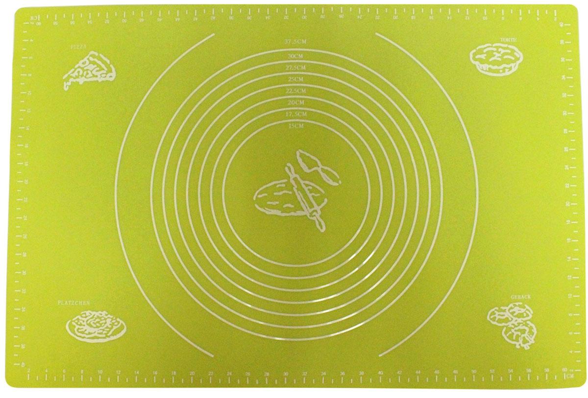 Коврик для выпечки Domodin, цвет: зеленый, 40 х 60 смSL4019-3Коврик для выпечки изготовлен из силикона, поэтому легко гнется и выдерживает температуру до +230 °С. Предназначен для гигиеничного приготовления любой выпечки из теста. Коврик оснащен мерной шкалой по краям и круглым шаблоном для теста. Раскатывая тесто на таком коврике, вы всегда сможете придать ему нужный размер. Кроме того, тесто не прилипает. Коврик очень удобный и облегчит приготовление теста.