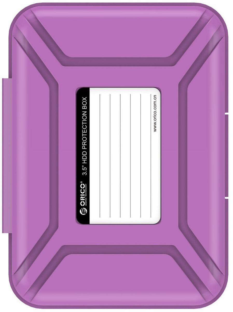 Orico PHX-35, Purple чехол для жесткого дискаORICO PHX-35-PUКейс Orico PHX-35 специально создан для защиты 3,5-дюймовых жестких дисков. Надежный материал кейса защитит диск от влаги и статического электричества, а благодаря дополнительным ребрам жесткости, кейс гарантирует хорошую защиту от ударов. С помощью специальной этикетки на крышке можно легко и просто сделать пометки на кейсе.