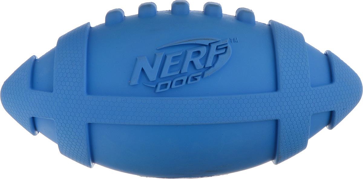 Игрушка для собак Nerf Мяч для регби, с пищалкой, длина 17,5 см игрушка для собак kong регби с пищалкой цвет прозрачный фиолетовый 18 х 9 х 9 см