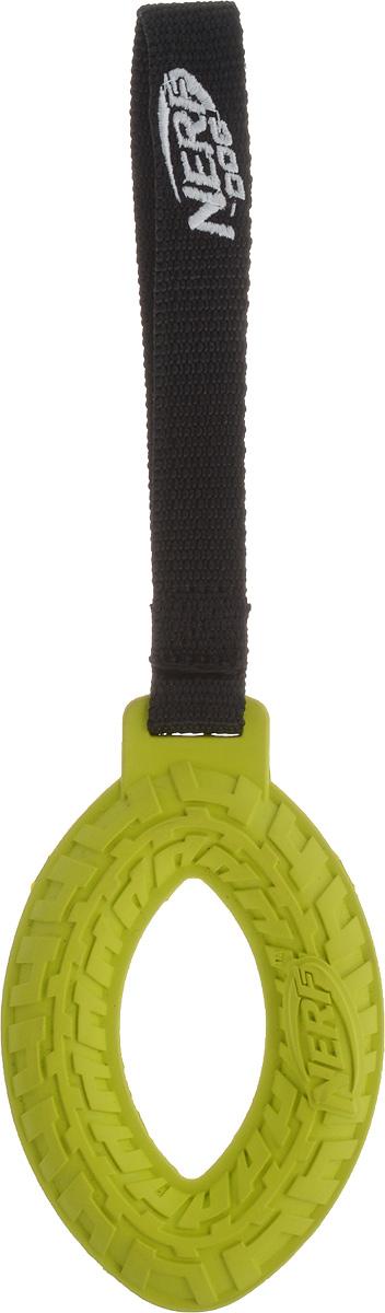 Игрушка для собак Nerf Шина, с веревкой, цвет: салатовый, черный, 27,5 см игрушка для собак dezzie аппорт 25 5 х 7 см