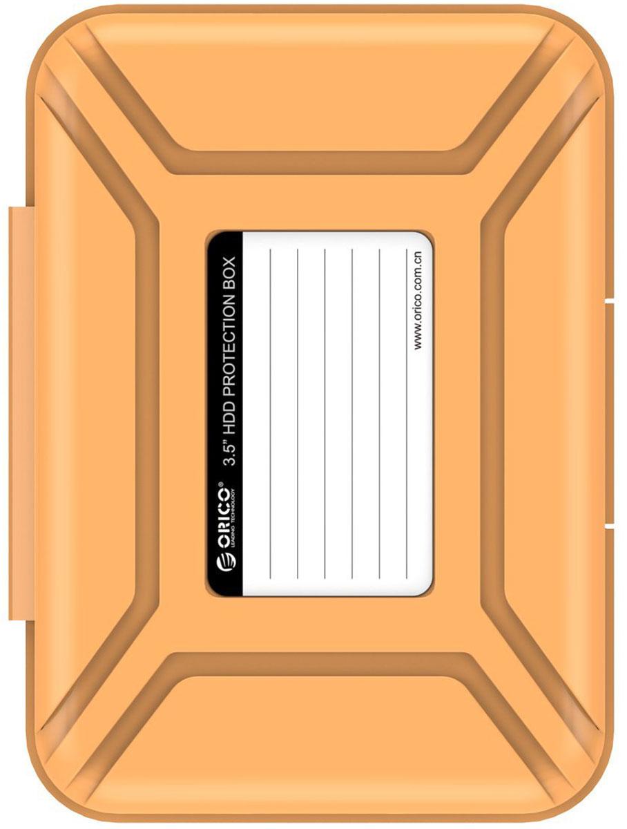 Orico PHX-35, Orange чехол для жесткого дискаORICO PHX-35-ORКейс Orico PHX-35 специально создан для защиты 3,5-дюймовых жестких дисков. Надежный материал кейса защитит диск от влаги и статического электричества, а благодаря дополнительным ребрам жесткости, кейс гарантирует хорошую защиту от ударов. С помощью специальной этикетки на крышке можно легко и просто сделать пометки на кейсе.