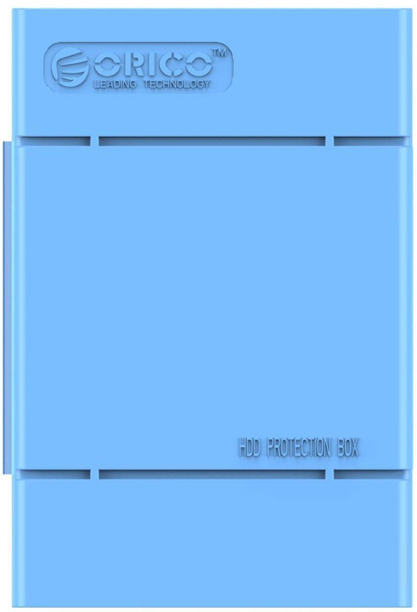 Orico PHP-35, Blue чехол для жесткого дискаORICO PHP-35-BLКейс Orico PHP-35 специально создан для защиты 3,5-дюймовых жестких дисков. Надежный материал кейса защитит диск от влаги и статического электричества, а благодаря дополнительным ребрам жесткости, кейс гарантирует хорошую защиту от ударов. С помощью специальной этикетки можно легко и просто сделать пометки на кейсе.