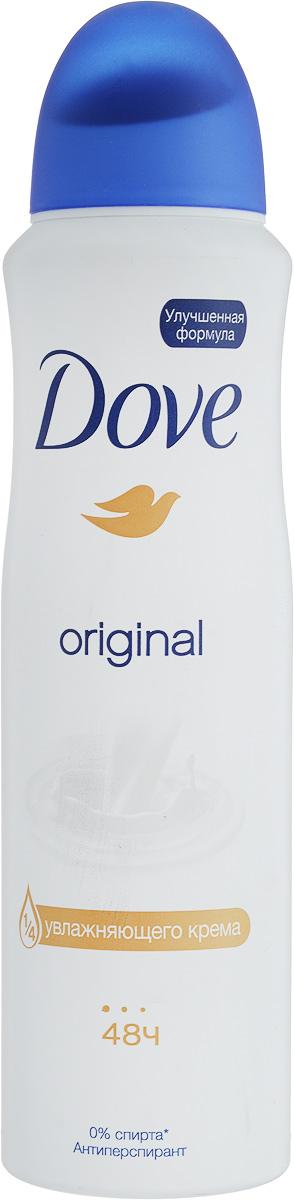 Dove Антиперспирант аэрозоль Оригинал 150 мл21133684Антиперсипрант Dove Оригинал обеспечивает защиту от пота на 48 часов и на 1/4 состоит из особенного увлажняющего крема, который способствует восстановлению кожи после бритья, делая ее более гладкой и нежной.