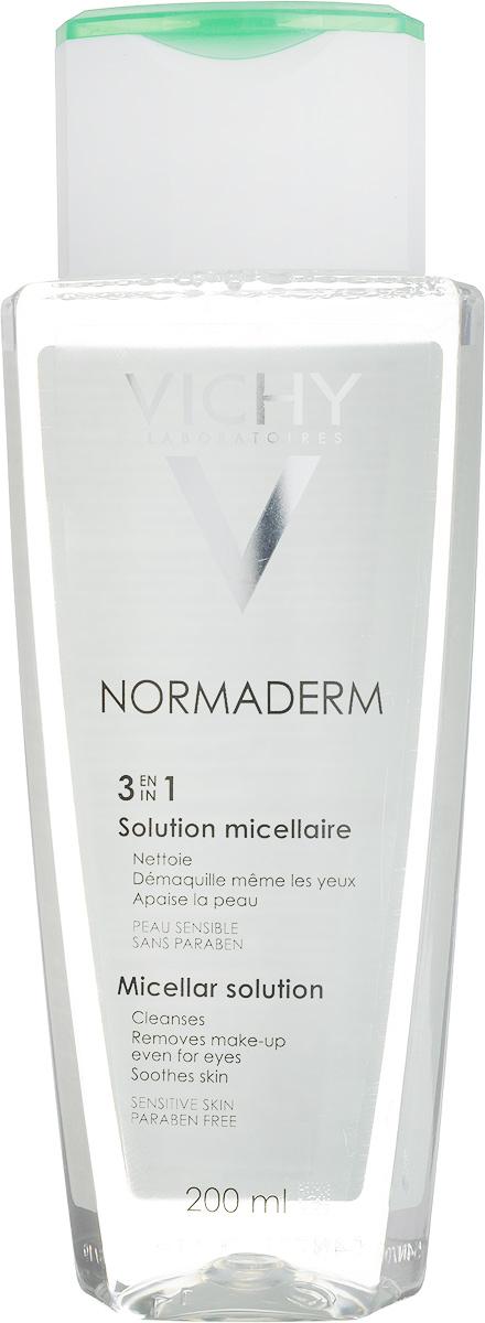 Vichy Мицеллярный Лосьон Normaderm, 200 млM3262100Тщательно и бережно удаляет все виды загрязнений, макияж и избыток кожного сала.Успокаивает чувствительную кожу.Подходит для снятия макияжа с глаз. Не требует смывания водой.
