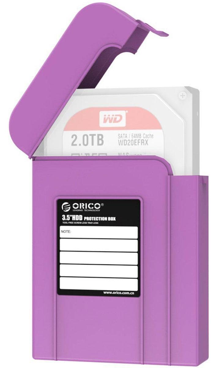 Orico PHI-35, Purple чехол для жесткого дискаORICO PHI-35-PUКейс Orico PHI-35 надежно защитит жесткий диск от пыли, влаги и прочих капризов окружающей среды. Благодаря дополнительным ребрам жесткости и крышке с защелкой, жесткий диск будет надежно защищен от падений и не выпадет из кейса при ударе. С помощью специальной этикетки можно легко и просто сделать пометки на кейсе.