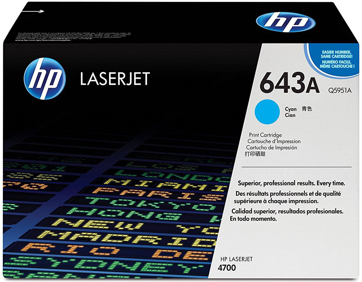 HP Q5951A, Cyan тонер-картридж для Color LaserJet 4700Q5951AПечатные расходные материалы HP LaserJet обеспечивают быстрое и простое получение превосходных результатов. Новый тонер HP ColorSphere создан для взаимодействия с системой печати с целью оптимизации качества, повышения производительности и снижения затрат.Расходные материалы HP LaserJet и тонер HP ColorSphere обеспечивают быструю, простую печать и яркую цветопередачу. Благодаря повышенной глянцевости печатная система HP Color LaserJet поддерживает возможность создания отпечатков, отличающихся динамичной, яркой и живой цветовой гаммой.За счет непрерывной регулировки параметров картриджей и принтера печатные расходные материалы для принтеров HP LaserJet с технологией интеллектуальной печати HP обеспечивают оптимальное соотношение качества и надежности печати, а также сокращение общих затрат на нее.