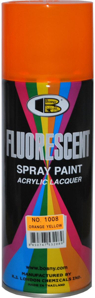 Купить Краска флуоресцентная Bosny , аэрозоль, цвет: ярко-оранжевый (1008), 400 мл