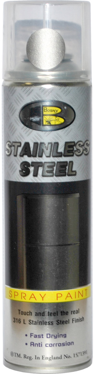 Аэрозольная краска Bosny, цвет: нержавеющая сталь, 300 млSSСпециальная формула со 100%-но чистым порошком нержавеющей стали 316L. Образует покрытие, на ощупь и по ощущению похожее на глянцевую поверхность настоящей нержавейки. Обеспечивает максимальную защиту от коррозии. Отличная атмосферо- и водостойкость. Срок годности - 5 лет.