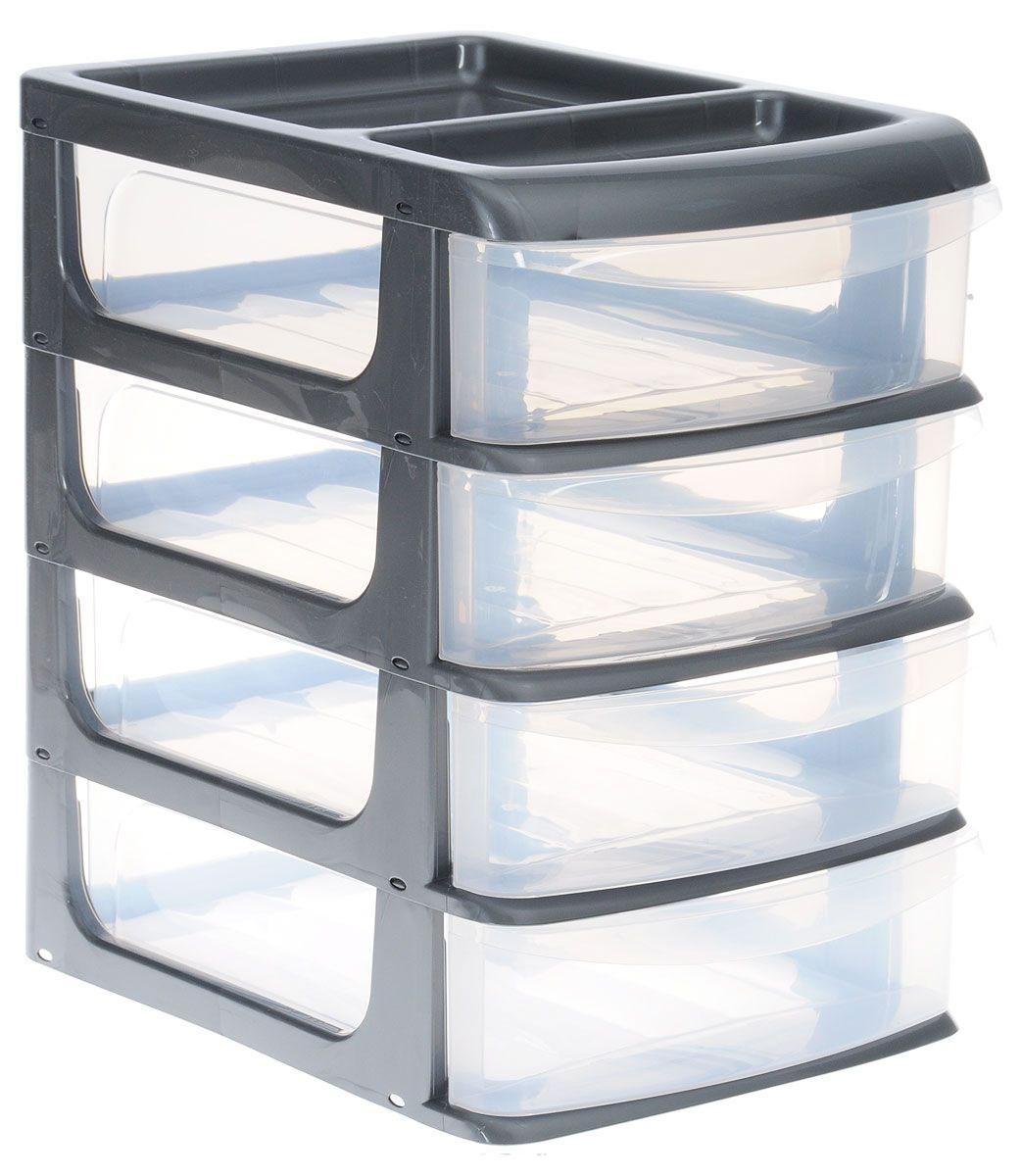 Бокс универсальный Idea, 4 секции, цвет: прозрачный, металлик, 24 х 17 х 26,5 смМ 2766_металликУниверсальный бокс Idea выполнен из высококачественного пластика и имеет четыре удобные выдвижные секции. Бокс предназначен для хранения предметов шитья, рукоделия, хобби и всех необходимых мелочей. Изделие позволит компактно хранить вещи, поддерживая порядок и уют в вашем доме.