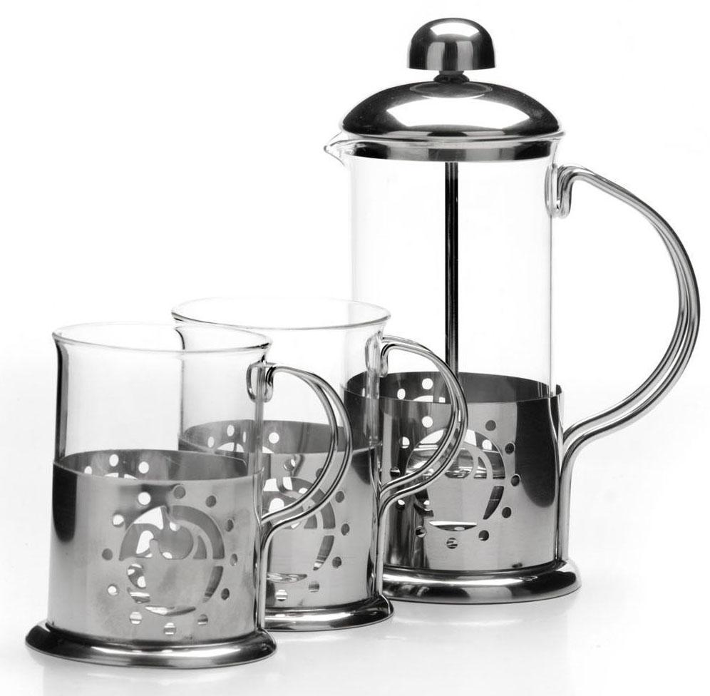 Френч-пресс Mayer&Boch, 350 мл, + стаканы 2 х 200 мл . 26264115510Предметы чайно-кофейного набора Mayer&Boch изготовлены из высокотехнологичных материалов на современном оборудовании. Колба из высококачественного боросиликатного термостойкого стекла заключена в корпус из нержавеющей стали. Фильтр-поршень Френч-пресса выполнен по технологии press-up для обеспечения равномерной циркуляции воды в чайнике, кроме того, фильтр предохраняет от попадания в бокал чайной заварки или частичек молотого кофе. Все предметы набора оснащены удобными не нагревающимися ручками, которые также выполнены из качественной нержавеющей стали. Практичный и стильный дизайн полностью соответствует последним модным тенденциям в создании предметов бытовой техники. Френч-пресс Mayer&Boch позволит вам быстро и без усилий приготовить свежий ароматный кофе или чай, а удобные бокалы всегда будут востребованы на вашей кухне. Подходит для мытья в посудомоечной машине. Не использовать чистящие и дезинфицирующие средства, содержащие хлор. Не подходит для использования на открытом огне.