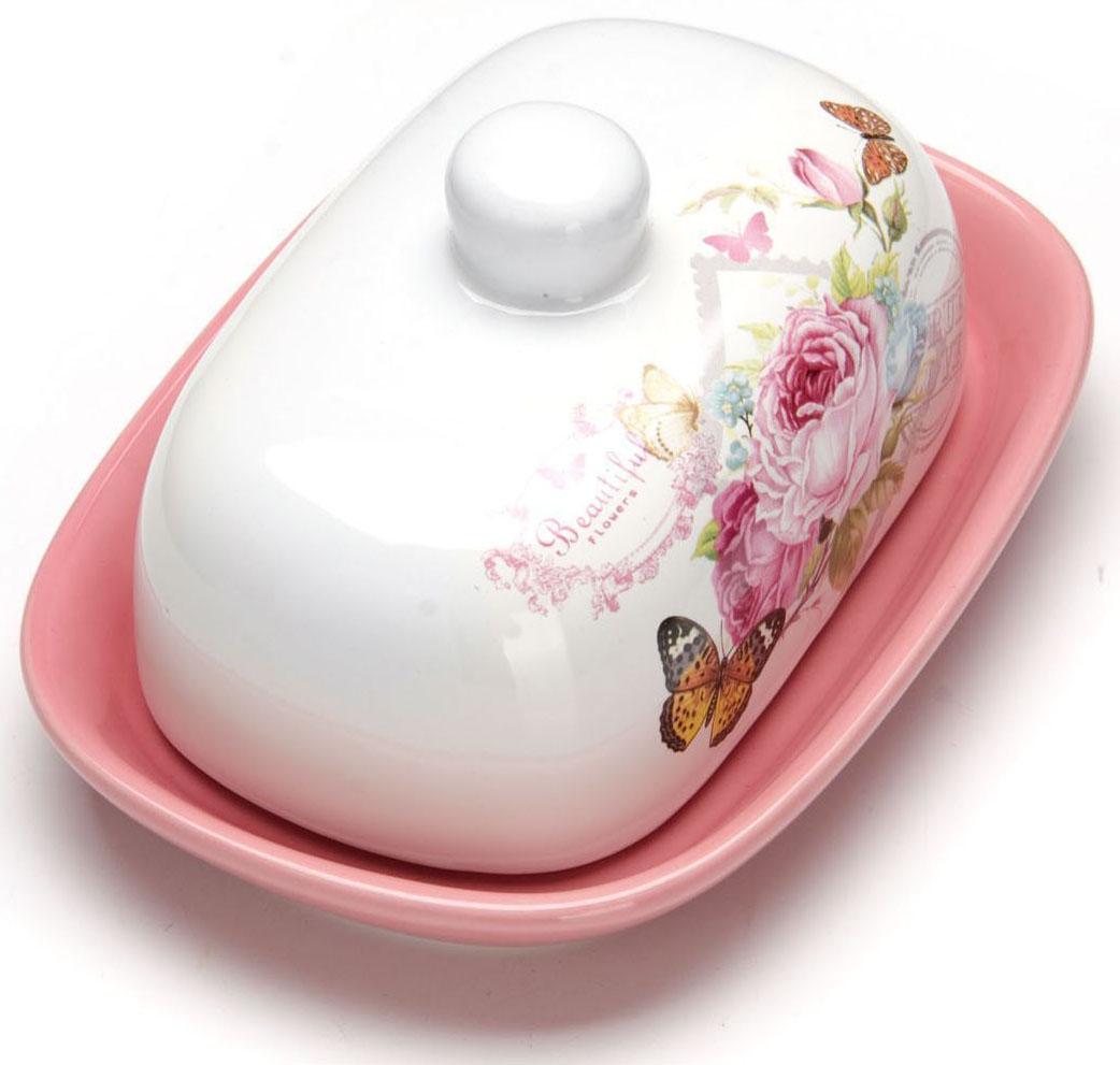 """Масленка """"Loraine"""", выполненная из качественной доломитовой керамики и декорированная ярким рисунком, станет украшением интерьера вашей кухни. Масленка надежно закрывается керамической крышкой и прекрасно подойдет для хранения и сервировки масла, сыра, творога.  Масленка рассчитана примерно на 200 грамм масла.  Пригодна для использования в холодильнике, морозильнике, микроволновой печи.  Подходит для мытья в посудомоечной машине.  Размер блюда: 17 х 12 х 2 см.Размер крышки: 14 х 10 х 7,5 см.Общий размер масленки: 17 х 12 х 8,5 см."""