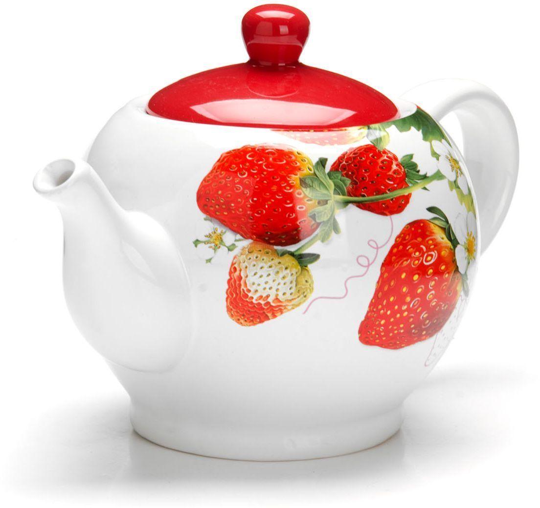 Заварочный чайник Loraine Клубника, 950 мл26347Заварочный чайник с крышкой Loraine поможет вам в приготовлении вкусного и ароматного чая, а также станет украшением вашей кухни. Он изготовлен из доломитовой керамики и оформлен красочным изображением. Нежный рисунок придает чайнику особый шарм, чайник удобен в использовании и понравится каждому.Такой заварочный чайник станет приятным и практичным подарком на любой праздник.Подходит для мытья в посудомоечной машине.