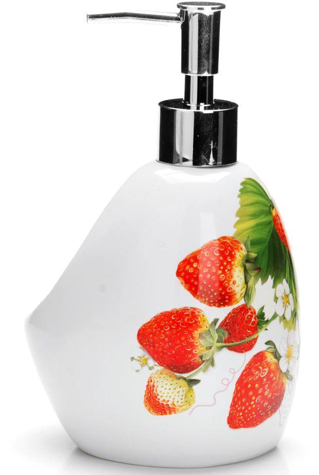Дозатор для мыла Loraine Клубника, 400 мл26350Дозатор для жидкого мыла Loraine выполнен из прочного доломита высокого качества. За изделием очень легко ухаживать, для этого достаточно просто периодически промывать его водой. Диспенсер может служить как самостоятельным предметом в вашей ванной комнате, так и дополнительным аксессуаром на кухне.Рекомендовано мыть руками. Объем: 400 мл.