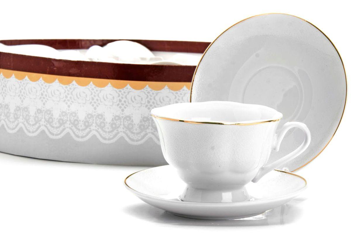 Чайный сервиз Loraine, 12 предметов, 220 мл. 2641826418Чайный набор Loraine на 6 персон, изготовленный из высококачественного костяного фарфора, состоит из 6 чашек и 6 блюдец. Набор придется по вкусу и ценителям классики, и тем, кто предпочитает утонченность и изысканность. Он настроит на позитивный лад и подарит хорошее настроение с самого утра. Набор упакован в подарочную упаковку. Такой чайный набор станет прекрасным украшением стола, а процесс чаепития превратится в одно удовольствие! Это замечательный выбор для подарка родным и друзьям!Объем чашки: 220 мл.