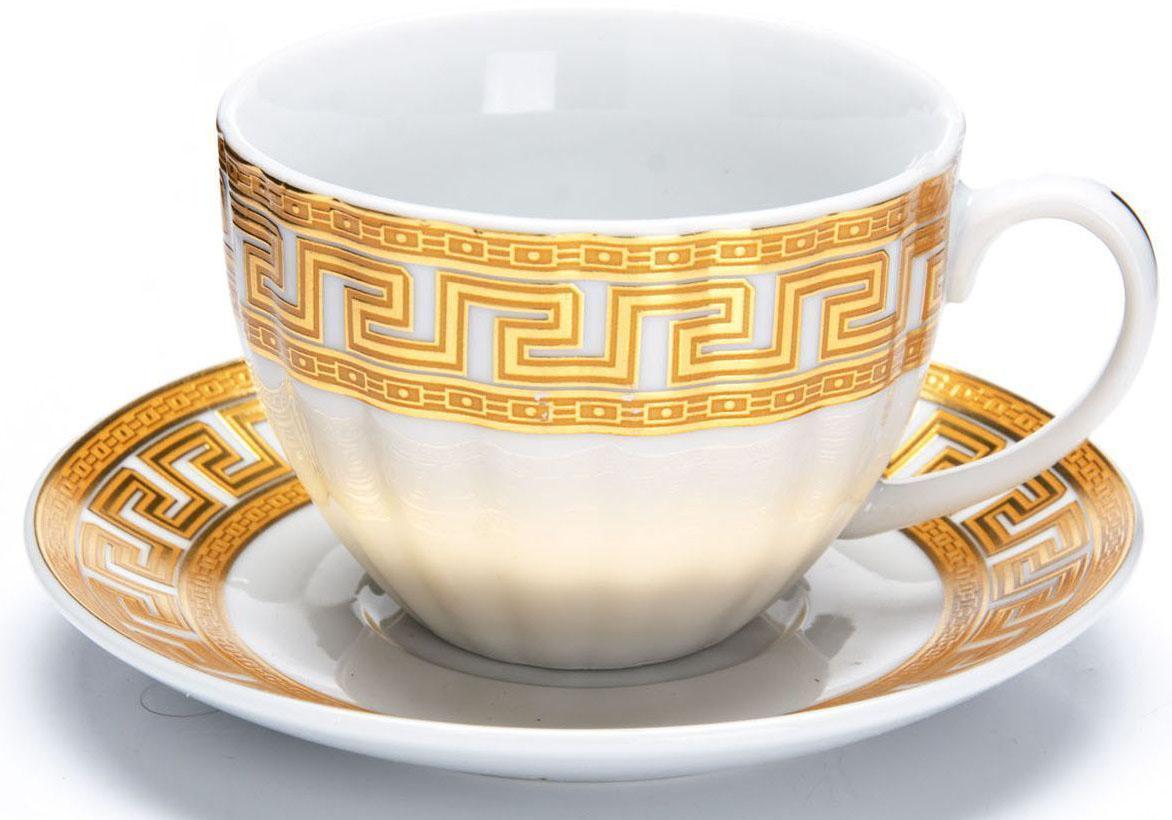 """Чайный сервиз """"Loraine"""" на 6 персон выполнен из высококачественной керамики белого цвета и украшен широким золотым орнаментом в греческом стиле. Изящный дизайн придется по вкусу и ценителям классики, и тем, кто предпочитает утонченность и изысканность.  Сервиз упакован в круглую подарочную коробку. Каждый предмет надежно зафиксирован внутри коробки благодаря специальным выемкам.  Элегантный и стильный чайный сервиз не только украсит сервировку стола, но и поднимет настроение и превратит процесс чаепития в одно удовольствие.  Чайный сервиз - идеальный и необходимый подарок для вашего дома и для ваших друзей в праздники, юбилеи и торжества!  В наборе 6 чашек и 6 блюдец.  Диаметр чашки: 9 см.  Высота чашки: 6,5 см.  Объем чашки: 220 мл.  Диаметр блюдца: 14 см"""