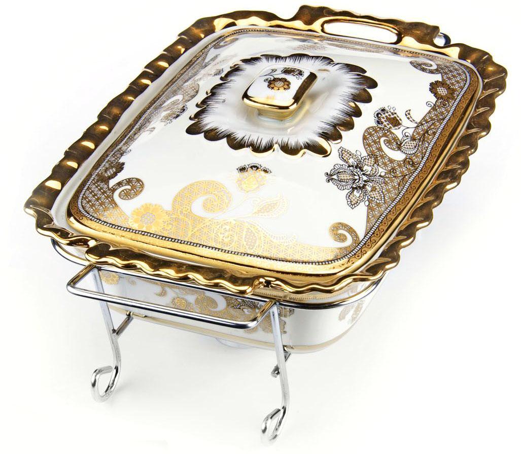 Мармит Loraine, 3 предмета, с 2 свечами, 2,1 л. 2654026540Мармит Loraine выполнен из керамики, украшенной рисунком. Керамическая чаша с удобными ручками располагается на стальной подставке с двумя подсвечниками для чайных свечей (входят в комплект). Свечи, устанавливающиеся на подставке, нагревают чашу снизу, таким образом, поддерживая нужную температуру приготовленного блюда.Керамическая крышка с удобной ручкой плотно прикрывает чашу сверху, в свою очередь, не давая остыть блюду.Благодаря своему элегантному дизайну, мармит с приготовленным блюдом можно сразу подавать на стол, не перекладывая еду на сервировочные тарелки. Изящный, с современным дизайном, мармит украсит любой праздничный стол, а блюда в нем будут всегда теплыми и ароматными.Керамическая чаша (без подставки) подходит для использования в духовом шкафу и микроволновой печи.Подходит для мытья в посудомоечной машине.Подходит для хранения в холодильнике.