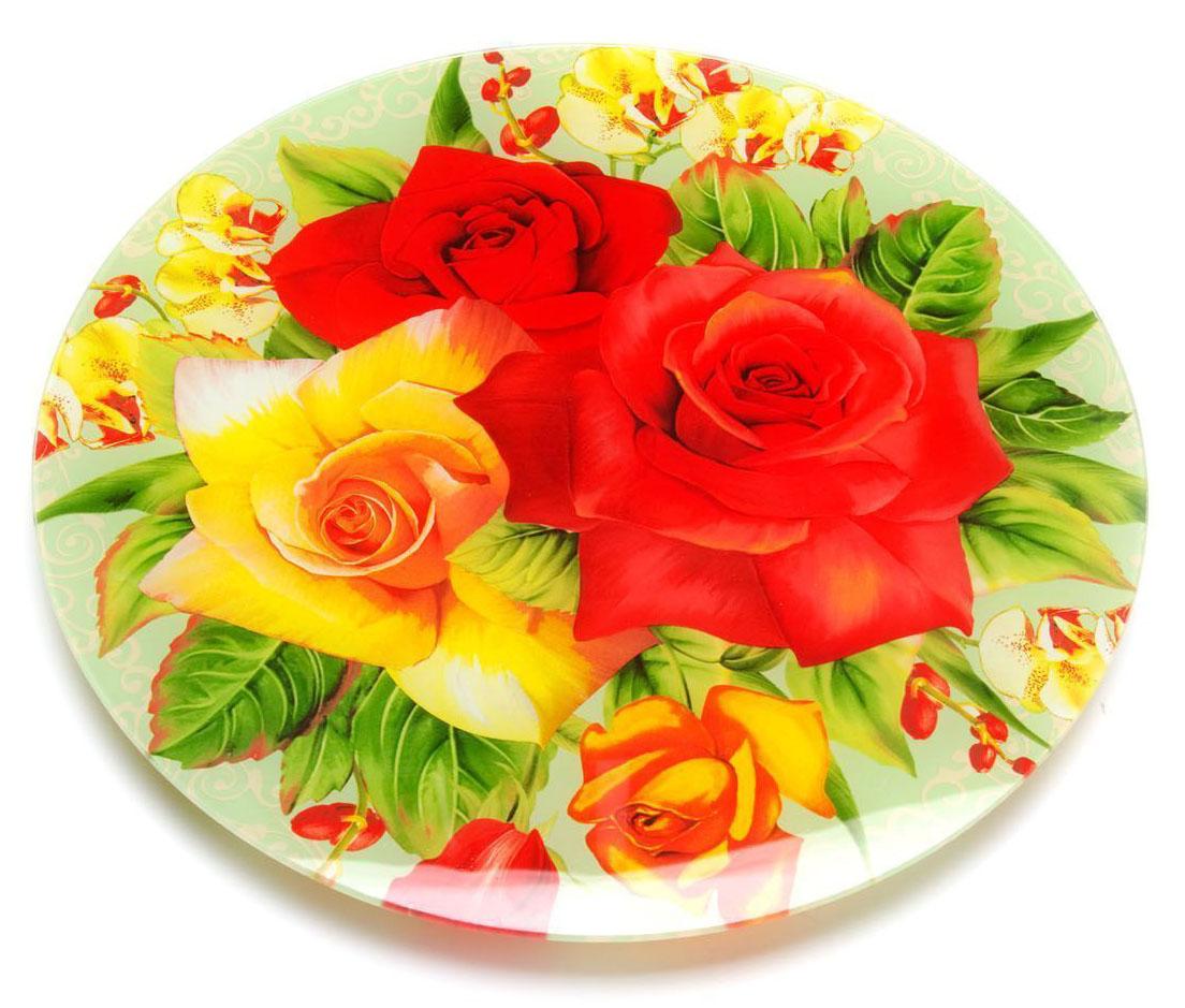 Блюдо для торта Loraine, вращающееся, диаметр 30,6 см. 26629-526629-5Вращающееся блюдо для торта Loraine выполнено из качественного закаленного стекла и украшено ярким рисунком. Изделие идеально подойдет для сервировки не только торта и десертов, но и различных закусок. Вращающийся механизм позволит вам легко их нарезать и взять, не пододвигая постоянно подставку.Оригинальная и стильная тортовница станет достойным украшением вашего праздничного стола.Посуда обладает непористой поверхностью и не впитывает запахи. Легко и быстро моется