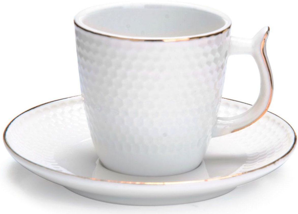 Кофейный сервиз Loraine, 90 мл, 12 предметов. 2682026820Кофейный набор на 6 персон Loraine выполнен из высококачественного костяного фарфора - материала безопасного для здоровья и надолго сохраняющего тепло напитка.Несмотря на свою внешнюю хрупкость, каждый из предметов набора обладает высокой прочностью и