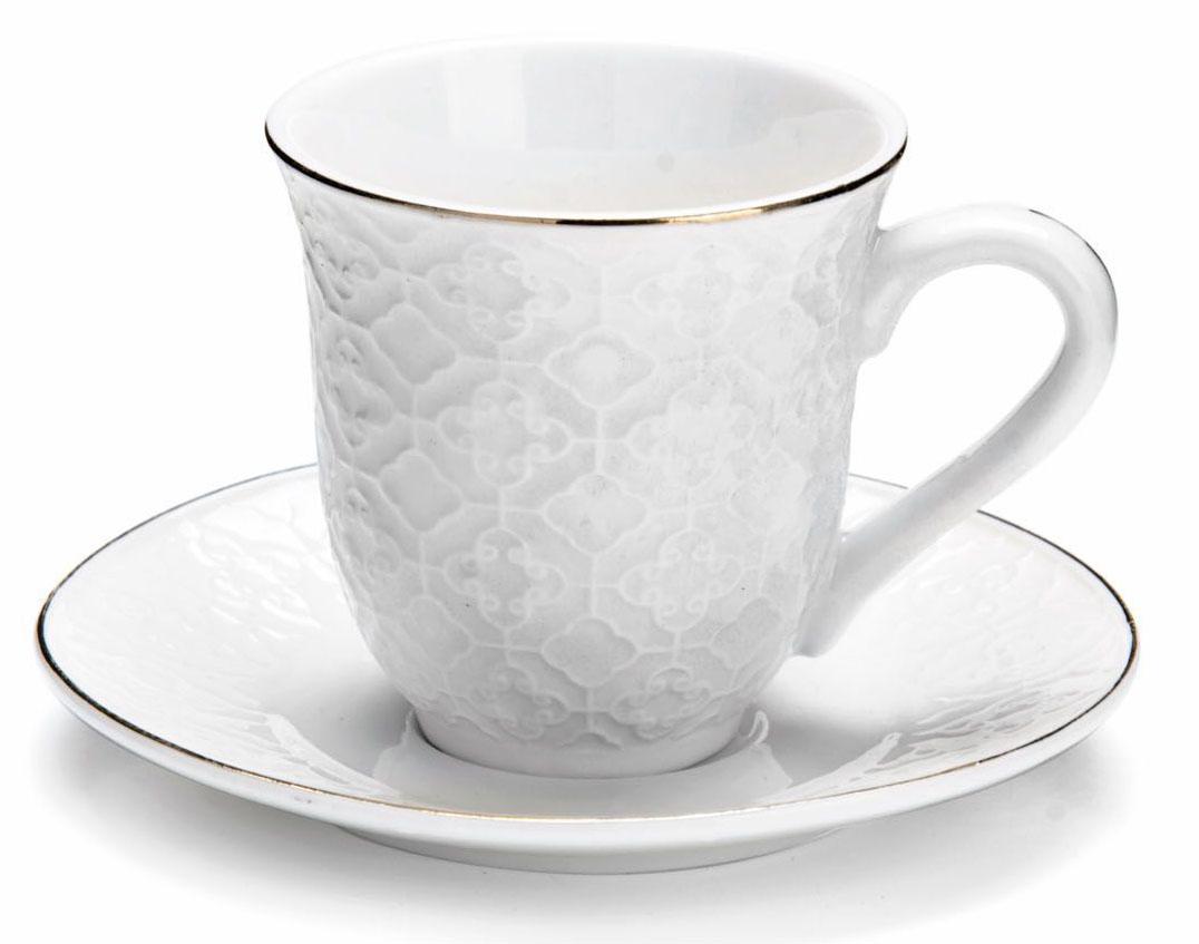 Кофейный сервиз Loraine, 90 мл, 12 предметов. 2682226822Кофейный набор на 6 персон Loraine выполнен из высококачественного костяного фарфора - материала безопасного для здоровья и надолго сохраняющего тепло напитка.Несмотря на свою внешнюю хрупкость, каждый из предметов набора обладает высокой прочностью и