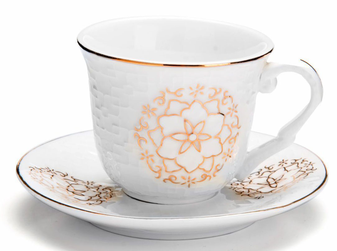 Кофейный сервиз Loraine, 90 мл, 12 предметов. 2682626826Кофейный набор на 6 персон Loraine выполнен из высококачественного костяного фарфора - материала безопасного для здоровья и надолго сохраняющего тепло напитка.Несмотря на свою внешнюю хрупкость, каждый из предметов набора обладает высокой прочностью и