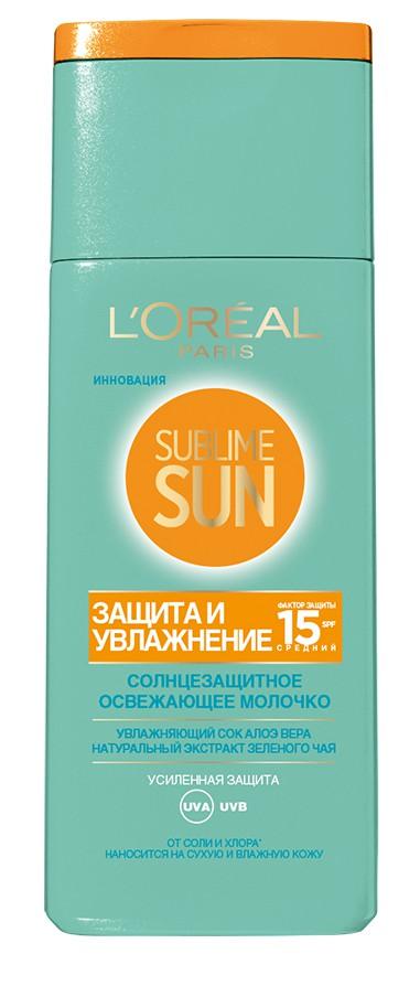L'Oreal Paris Sublime Sun Освежающее молочко для лица и тела Защита и Увлажнение, солнцезащитное, SPF 15, 200 мл, с соком Алоэ и экстрактом зеленого чая laneche молочко солнцезащитное увлажняющее spf 20 laneche sun 21742 200 мл