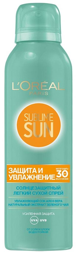 L'Oreal Paris Sublime Sun Сухой спрей для лица и тела Защита и Увлажнение, солнцезащитный, SPF 30, 200 мл, с соком Алоэ и экстрактом зеленого чая kao biore uv aqua rich солнцезащитный освежающий гель лосьон для тела с spf 33 90 мл