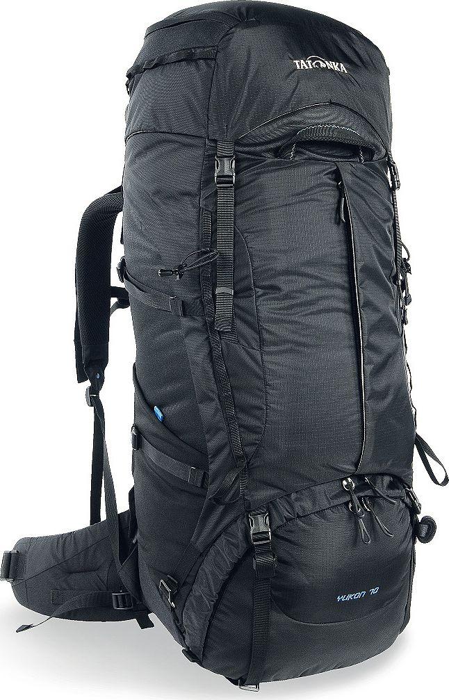 Рюкзак туристический Tatonka Yukon, цвет: черный, 70+10 л1354.040Классический туристический рюкзак Tatonka Yukon - идеальный выбор для разнообразных походов. Рюкзак оптимизирован для грузов среднего веса (до 20-25 кг), и представляет собой идеальный баланс легкости, прочности и комфорта. Система V2 совершенствовалась с годами, и всегда получала самые лучшие оценки как от профессионалов, так и от новичков. В обновленном рюкзаке отлично сочетаются и обновленная система переноски, и более тонкие, но прочные материалы, и максимальный комфорт при переноске рюкзака. Yukon оснащен 3D-входом в основное отделение, что делает более эффективным и быстрым процесс упаковки рюкзака. Дно рюкзака выполнено из прочного непромокаемого материала Cordura.Преимущества и особенности:- Система переноски V2;- Разделенные верхнее и нижнее отделения;- Фиксаторы для треккинговых палок или ледорубов;- Полностью адаптивная система настройки спины;- Компрессионные стропы по бокам;- Прочные ручки в передней и задней частях рюкзака;- Прочные молнии размера 10;- 3D-вход в основное отделение;- Регулируемая по высоте крышка рюкзака;- Карман в крышке;- В комплекте - чехол от дождя;- Выход для питьевой системы;- Боковые эластичные карманы;- Дополнительные петли в центральной части рюкзака;- Отделение для аптечки (пустое);- Передний карман на молнии.Размер: 78 x 34 x 25 см.