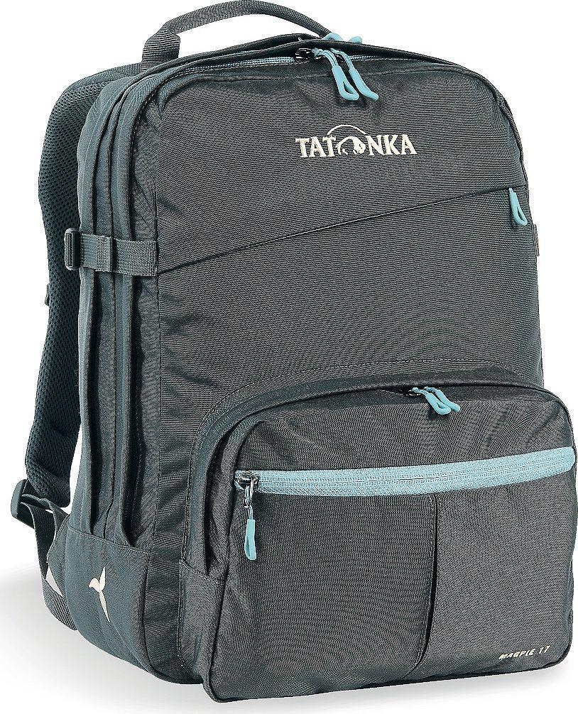 Рюкзак женский Tatonka Magpie, для учебы и работы, цвет: темно-серый, 17 л1616.021Рюкзак Tatonka Magpie - это классический офисный рюкзак для девушек.Он оснащен отделением для ноутбука. Плечевые лямки адаптированы специально для женской фигуры. В рюкзаке два отделения и накладной передний карман с органайзером. Рюкзак сшит из прочной износостойкой ткани Cordura 500D.Преимущества и особенности: - Спинка Padded Back;- Изогнутые плечевые лямки;- Регулируемый по высоте нагрудный ремень;- Компрессионный стропы;- Ручка для переноски;- Два основных отделения;- Плотное дно;- Переднее отделение на молнии;- Накладной карман с органайзером и мягким отделением для телефона;- Отделение для ноутбука (не прилегающее к дну);- Крючок для ключей.Размер: 38 x 28 x 13 см.